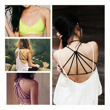 Sexy Women Cross Strap Padded Bandage Wrapped Chest Shirt Tank Crop Top Blouse