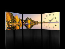 Golden Lakeshore/Ready to Hang 3 Panel Set with Clock/for Upgrading Canvas Art