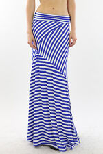 FOLD OVER WAIST NAVY WHITE ASYMMETRICAL STRIPED LONG FLOWY MAXI SKIRT  S M L