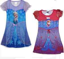 Girls Frozen Snow Queen Elsa Anna Cosplay Shiny Snow Princess Costume 3-8y