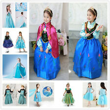 Frozen Princess Elsa Anna Kid's Costume Cosplay Party Fancy Chic Gown Dress