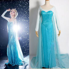 Women Lady Halloween Frozen Princess Costume Cosplay Elsa Fancy Dress for Adult