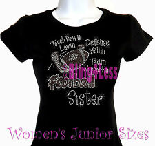Football Sister - Touch Down - Rhinestone Iron on T-Shirt - Bling Sports Top
