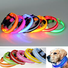 Light Up LED Dog Collar Pet Flashing Safety Night Cat Glow in the Dark 8 Colors