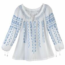 AZTEC BLUE EMBROIDERED WHITE COTTON PEASANT TUNIC TOP