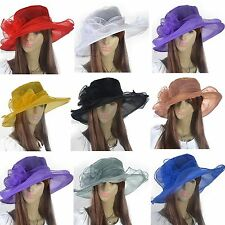 Chic Lady Kentucky Derby Church Dress Hat Organza Wedding Wide Brim Hat