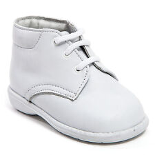 Baby Boy White Leather High Top shoes with Laces: Size 3 to 8 Made in Mexico