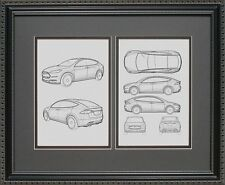 Blueprint Art - Tesla Auto Collection - Tesla Model S Print Poster Car BTSLA