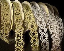 Glitter Cut Out Lace Tape Self Adhesive Stick On Gold Silver Sticker Trim 1m