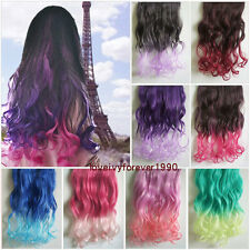 Gradient Hair Ombre Long Curly Hair Hairpieces Clip in Hair Extensions 5 clips