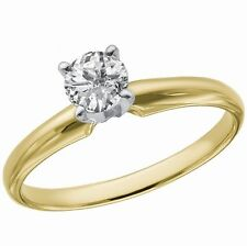 SOLID 14k Gold 1/3 CT Diamond Solitaire Engagement Wedding Anniversary Ring