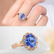 Nice cute design plated gold filled sapphire eye-catching woman ring Sz6-Sz9