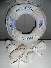 MARITIME~ NAUTICAL ~ BATHROOM  WOODEN LIFE BUOY  / BOAT / ANCHOR / LIGHTHOUSE