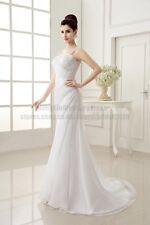 New White/Ivory Organza Wedding Dress Bridal dress stock size 6 8 10 12 14 16