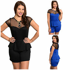 The Plus Size Mesh Top Short Peplum Romper