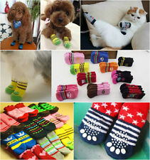 4pcs/Set Puppy Pet Dog Cat Lovely Warm Soft Cotton Sock Anti Slip Skid Socks