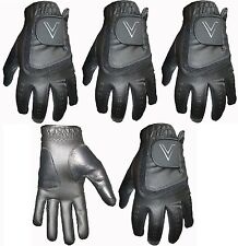 5 BLACK All Weather Soft Golf Gloves Leather Palm Patch 4 Gents V Logo in Black