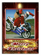 CHRISTMAS CARD; k068 Santa biker; Any name, relationship, text; special great