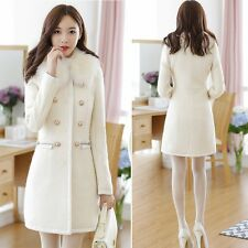 NEW Women Elegant Sexy Slim Wool Faux Removable Fur Wool Trench Type Coat Jacket