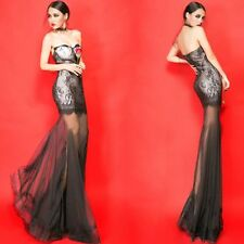 2014 New Lace & Tulle Long Mermaid Cocktail Evening Formal Prom Dress Gown AD394