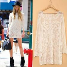 Women Embroidery Floral Hollow Lace Crochet Long Shirt Dress Casual Tops Blouse