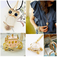 Crystal Vintage Colorful Fire Balloon Pumpkin Necklace Charm Pendant Long Chain