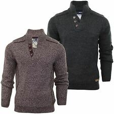 Mens Jumper Funnel Neck Threadbare 'Kinder' Wool Mix Cable Knit Sweater Button
