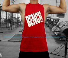 Men's BENCH RED Workout Vest Tank Top bodybuilding gym muscle mma fitness