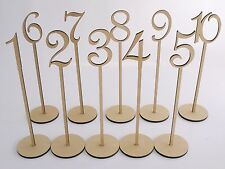 One MDF Wooden Shape Table Number Stick with Base French Font Wedding Birthday