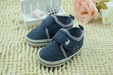 Baby Boy Blue & Gray Soft Sole Shoes Toddler Sneaker Size Newborn to 18 Month