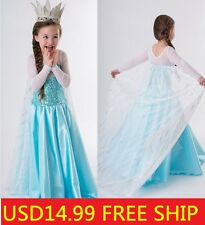 Disney Princess Frozen Elsa Dress Up Gown Costume Ice Princess Queen Dress 3-8Y