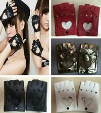 DICA1 Pair Women Leather Driving Fingerless Mittens Dance Punk Motorcycle Gloves