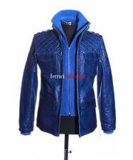 Franco Blue Men's New Retro Casual Real Waxed Quilted Leather Safari Jacket
