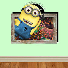 3D Picture Wall Art Wall vinyl minions bedroom lounge kitchen despicable kids