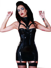 Latex Rubber Liberty Suspender Belt Dress Outfit Black All Sizes   Sexy Fetish