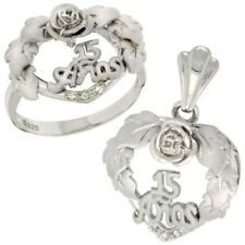 "925 Sterling Silver Quince ""15 Anos"" Wreath CZ Heart Ring & Charm Pendant Set"