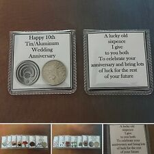 1ST to 10TH Wedding Anniversary Lucky Sixpence Coin Keepsake Pouch Gift Bag