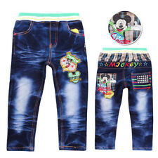 Boys 2-7 Years Mickey Mouse Denim Embroidery Jeans Elastic Pants Custom Fit
