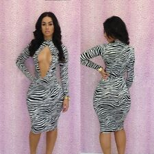 Women Sexy Zebra-Patterned Clothes Cocktail Party Bandage Bodycon Dress