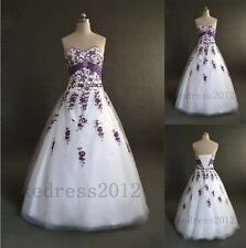 STOCK New White&Purple Embroidery Bridal Wedding Dress Size 6 8 10 12 14 16 18