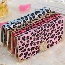 Luxury Bling Wallet Magnetic Flip Leopard Leather Cover Case For iPhone Samsung