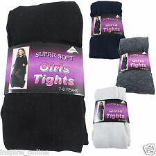 3 PAIRS CHILDRENS SUPER SOFT KIDS COTTON RICH GIRLS SCHOOL FOOTED PARTY TIGHTS
