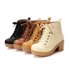 2014 Women Winter High Heeled Martin Boot Lace Platform Shoes Large Size XWX447