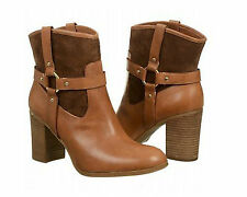 Lauren Ralph Lauren Womens Dylan Tan Leather Fashion Riding Ankle Boots Shoes