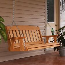 CAF Amish Mission 4ft. Treated Wooden Porch Swing With Cupholders