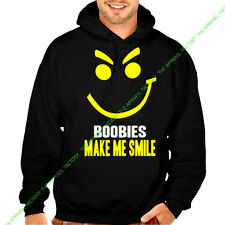 New BOOBIES MAKE ME SMILE Hoodie Sweatshirt face tits rack funny humor cancer