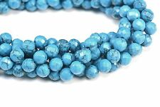 howlite turquoise,faceted round,4-14mm,jewelry supply,blue stone bead
