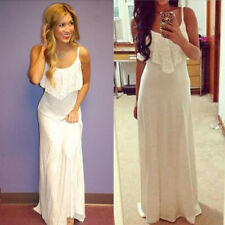 Sexy Women Summer Boho Long Maxi Evening Party Dress Beach Lace Chiffon Dress