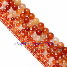 2.3.4.6.8.10.12.14mm Natural Red Carnelian Agate Round Loose Beads Strand 15""