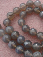10 mm grey agate faceted round beads, 20 pcs & 10 pcs, jewellery jewelry making